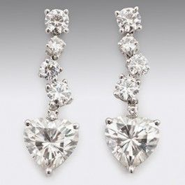 Seagull Gifts | Heart Drop Moissanite Diamond Earrings 18ct White Gold | seagullgifts.com.auWelcome to the brand new collection of exclusive Moissanite Diamond Earrings. Unmatched in its sparkle and brilliance Moissanite Diamonds make a wonderful alternative to the much more expensive Diamonds.