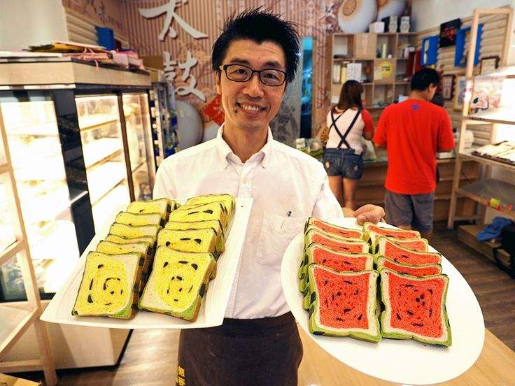 A Taiwanese bakery has invented a loaf of bread that looks just like the square watermelons popular in Japan (www.pinterest.com/pin/94434923409872926). According to Jimmy's Bakery, which invented this masterpiece, it was designed to get kids excited about eating bread during the hot summer months when their appetites decrease. The bread uses natural dyes – green tea for the rind, strawberries for the flesh, and charcoal for the seeds.