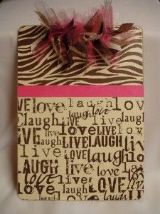 I've been making clipboards similar to this as gifts.  Love them! Maybe oneday I will make one for myself!