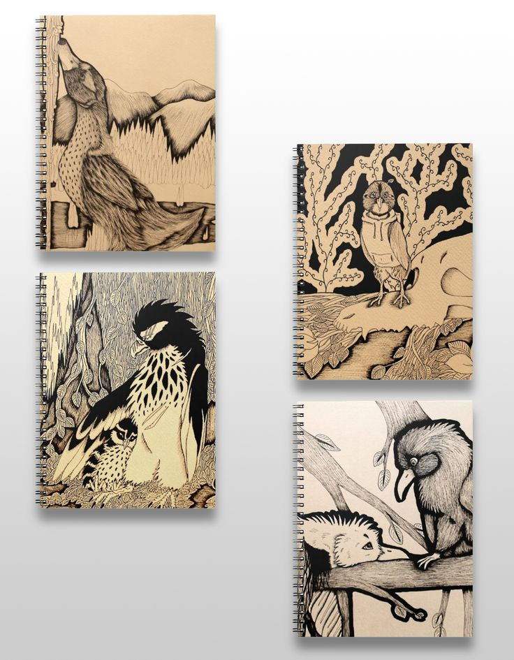 Black and white illustrated bird notebooks. #products #art #illustration #gifts