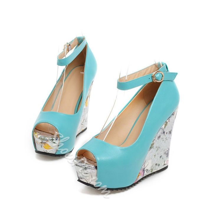 Shoespie Comfortable Peep-toe Wedge Heels