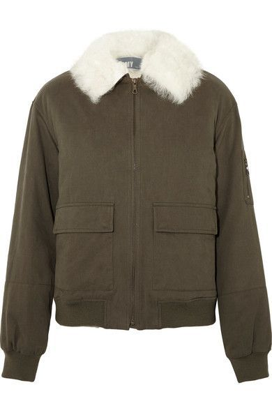Army-green cotton-twill, white shearling Fabric1: 100% cotton; fabric2: 100% shearling (Lamb); lining: 100% polyester Zip fastening through front Dry clean Imported