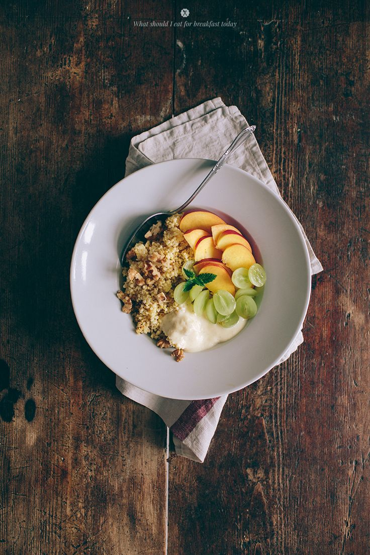 Millet with coconut milk, soy yogurt, fruits