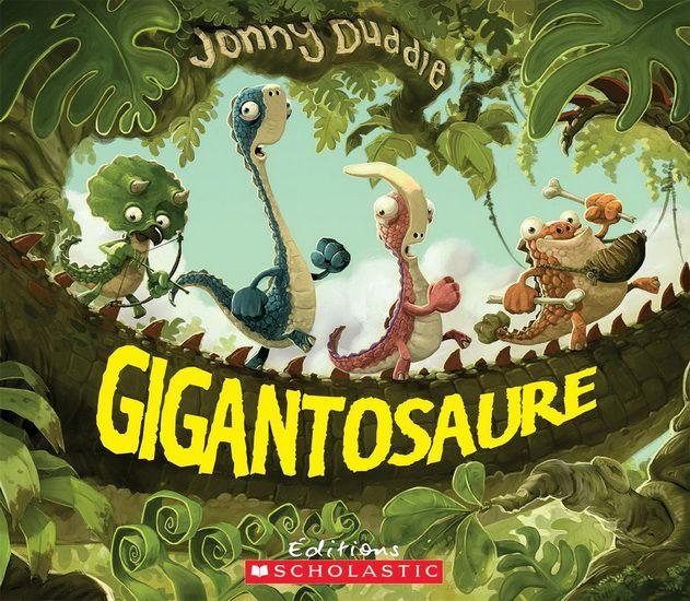 Un gigantosaure rôde dans les parages, mais quatrepetits dinosaures ignorent les avertissements deleur maman :Ses pieds vous ÉCRASERONT, ses mâchoires vousBROIERONT!En un clin d'oeil il vous avalera tout ROND!Échapperont-ils aux dents acérées de cemonstre terrifiant?