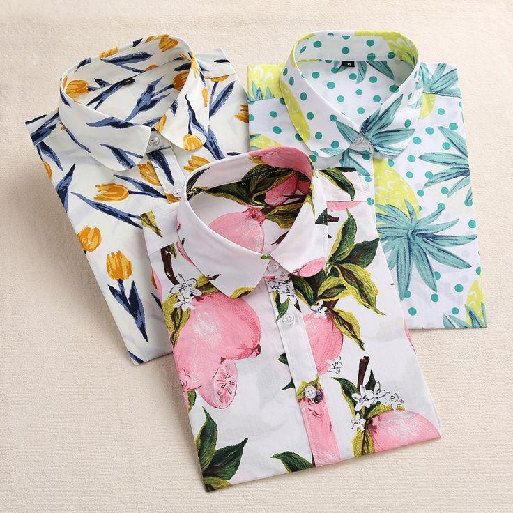 Aliexpress - Dioufond Lemon Floral Print Summer Blouse Women Shirt Long Sleeve Cotton Blouse Turn Down Collar Women Tops And Blouses Fashion