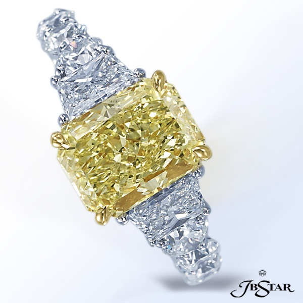 Jb Star Fancy Yellow Radiant Diamond With Trapezoids And