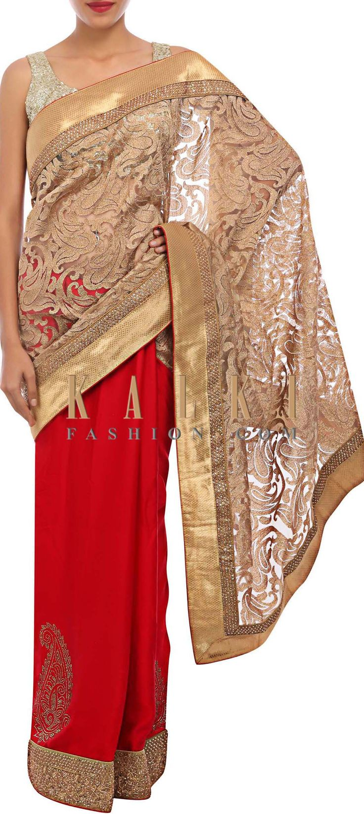 Buy Online from the link below. We ship worldwide (Free Shipping over US$100) http://www.kalkifashion.com/half-saree-is-in-red-and-gold-embellished-in-zari-and-kundan-only-on-kalki.html