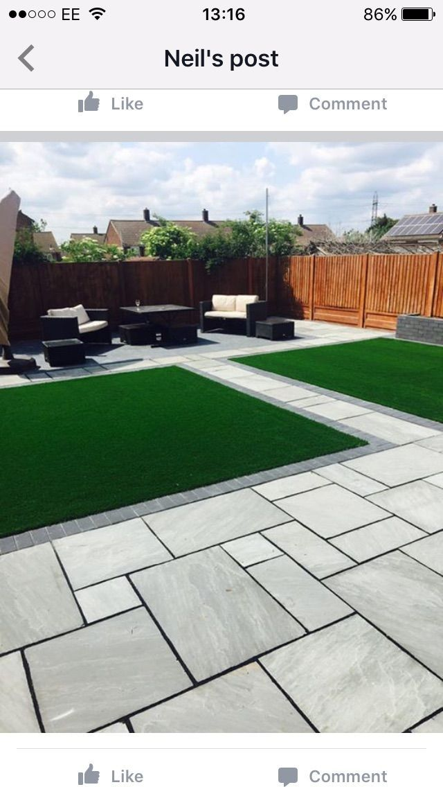 Modern Outdoor Landscape Design The Garden Can Be Divided Into Two Equal Areas By The Garden In 2020 Outdoor Landscape Design Patio Garden Design Modern Landscaping