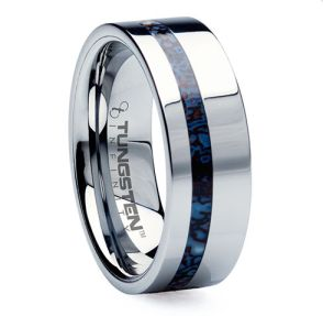 """Mens Tungsten Online originally made this custom wedding ring for a paleontologist client, out of a piece of raptor fossil from Utah. Isn't the color gorgeous and totally unexpected? It comes from a mix of the bone and minerals that combine over time. A great design choice for archeologists, dinosaur lovers or just someone looking for a bit of color in their ring. """"Dinosaur"""" is available for $799."""