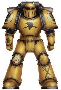 A Pre-Heresy Imperial Fists Legion Tactical Squad Marine in late production Mark III Iron Pattern Power Armour; note the Unification icon worn on chest; the crossed swords symbol on his leg armour was used as an Imperial Army badge while the arrow on the right forearm marks him as a member of one of his Legion's Tactical line units.