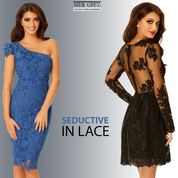 Black or in vibrant colors ? Discover the most sophisticated lace evening dresses from Miss Grey!