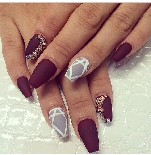 Matte Stiletto Nails With Tip Cut Off! Come to Luxury Spa & Nails for all of…