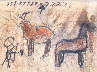 Lascaux Cave Paintings, France. ~ Could use crumpled kraft paper (smoothed out to draw on) as the background. I Love this idea!