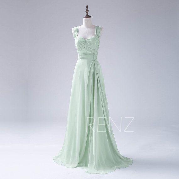 2016 Dusty Shale Bridesmaid dress Double Straps Long di RenzRags