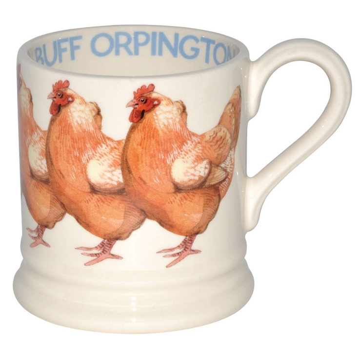 Buff Orpington 1/2 PintMug -    The breed originated in Orpington, Kent, United Kingdom in the late 1800's. There are Black Orpingtons, White Orpingtons, Blue Orpingtons (somewhat rare), and Buff Orpingtons - the Buff color being the most prevalent. This mug will look cosy on the kitchen table with your other hen mugs.