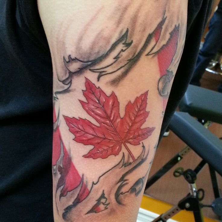 #Canada #flag #ripping #skin #tattoo #toronto #Woodbridge #gta