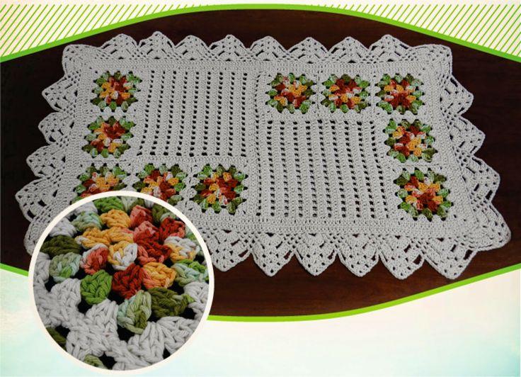 Tapete em crochê com cantos de quadradinhos - Gráfico - Crochê