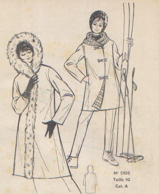 """Patron vintage, manteau, supplément à la revue """"Femmes d'Aujourd'hui"""", 11 novembre 1965. : Patrons par chez-rosalie"""