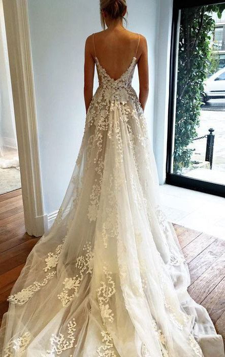 Cute Deep V neck Wedding Dress Lace Wedding Dress Spaghetti Straps Beach Wedding Dress N