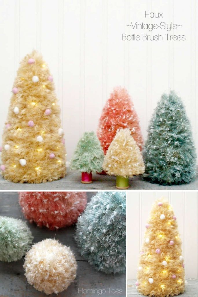 Faux Vintage Style Bottle Brush Trees--done on a foam cone with sisal clumps