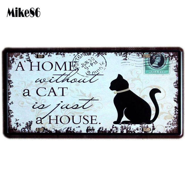 [ Mike86 ] CAT House license plate Art Vintage Souvenir Poster Pub Gift Iron Painting Metal bedroom Decor 30X15 CM D-271