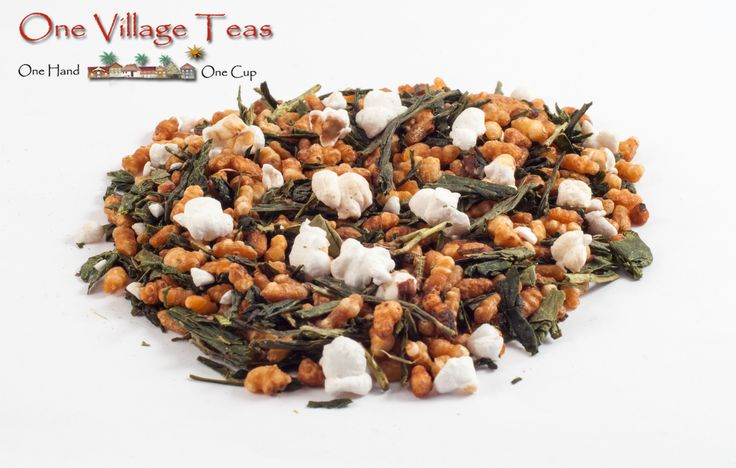 Genmaicha Yamasaki Green Tea  This specialty Japanese style green tea is blended with fire-toasted rice giving a natural sweetness to each sip. A tremendous conversational tea hosting flavours both sweet and toasty.   www.onevillageteas.com