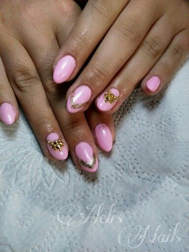 Almond pink with gold rhinestones