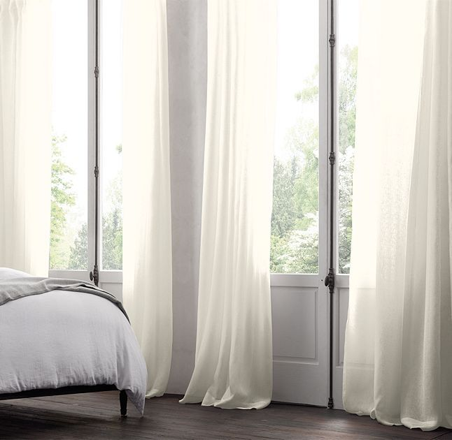 RH's Belgian Sheer Linen Drapery:Loomed from the world's finest Belgian flax, the soft, lightweight weave welcomes light. The sheer fabric dresses the window alone or pairs with heavier-weight panels.