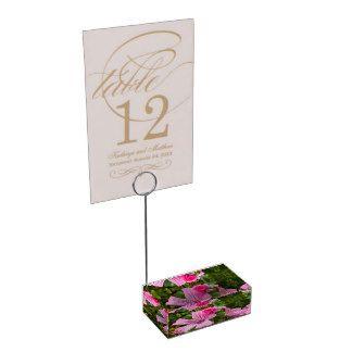 Porte-cartes De Table photographie fleur rose avec la rosée du matin
