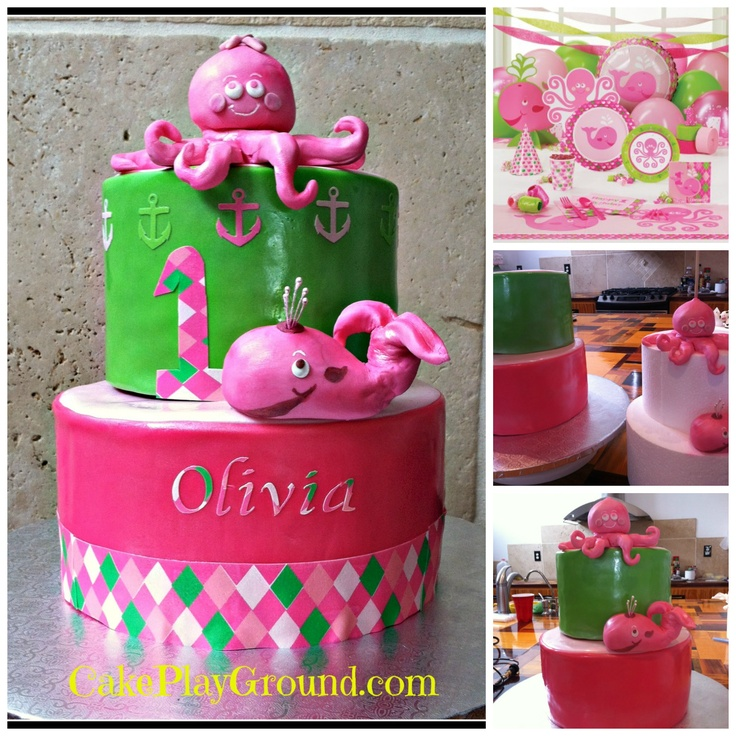 click for free video cake decorating classes on how to make octopus and whale for this - Cake Decorating Videos