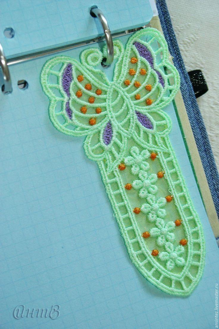 Купить Закладка для книг Бабочка вышивка аппликация кружево ажур - закладка для книг, Книжная закладка