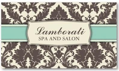 Business Card Template - Art Deco Floral Pattern Damask Elegant Modern Classy Retro