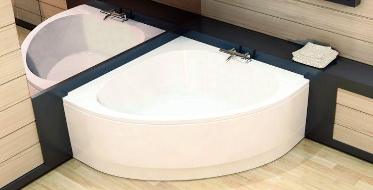Baignoire d'angle avec miroir et petit rebord pour produits de beauté