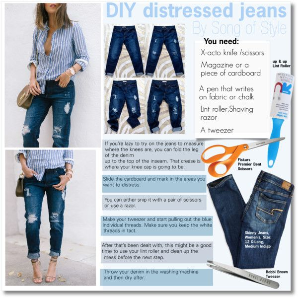 DIY distressed jeans by Song of Style by kusja on Polyvore featuring American Eagle Outfitters, Bobbi Brown Cosmetics, Fiskars, Up & Up, DIY, BloggerStyle, jeans and aimeesong