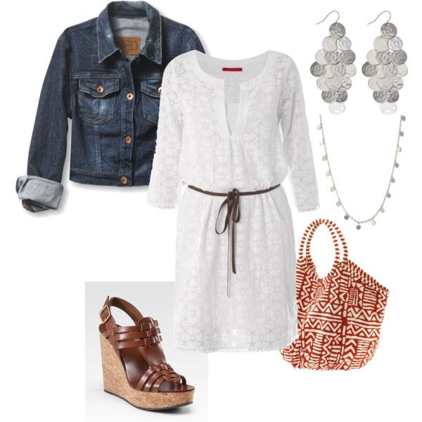 white dress, created by stantauFashion, Casual Style, Jeans Jackets, Clothing, Denim Jackets, Jean Jackets, Casual Wear, Cute Outfit, White Dresses