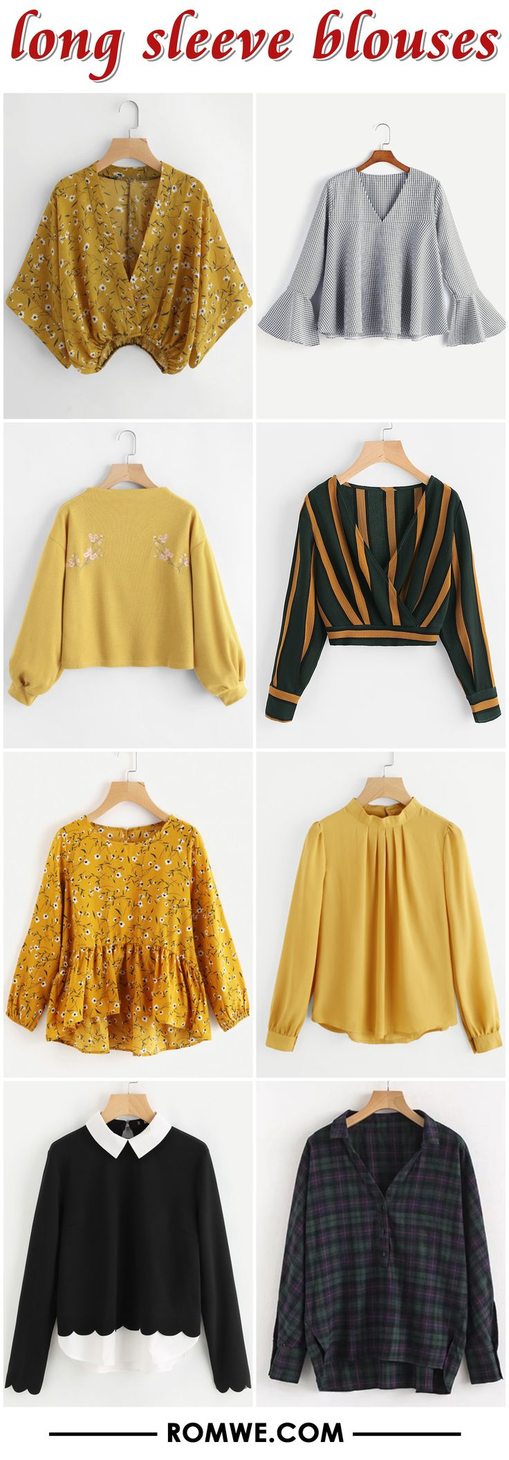 long sleeve blouses from romwe.com