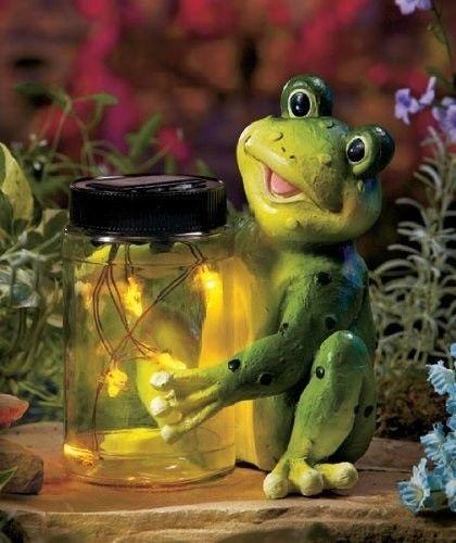 Delightful NEW Fireflies And Frog Solar Yard Garden Statue