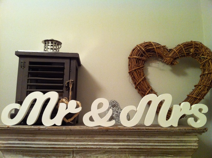 Handpainted Wooden Mrs & Mrs - perfect for wedding table or as a gift for the happy couple.  Any colour.