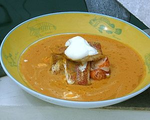 Crab and Lobster Bisque with Red Mullet
