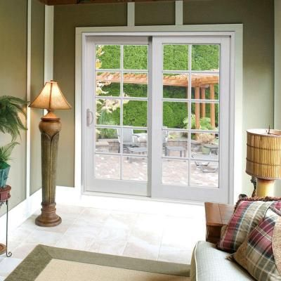 Composite White Right Hand DP50 Smooth Interior With 10 Lite External  Grilles Sliding Patio Door