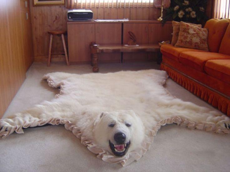 Faux Polar Bear Skin Rug With Head