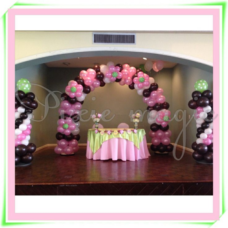 baby shower balloon arch and columns party decorations pinterest