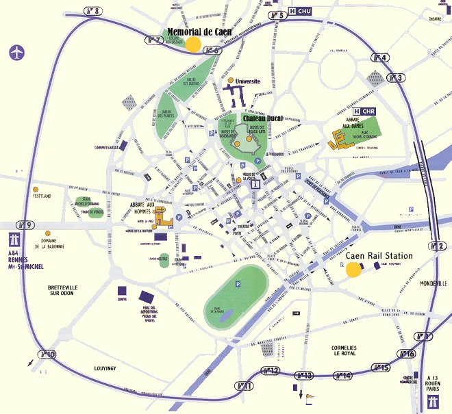 Caen, France Map. Drove to and from Caen Rail station to tour the Normandie countryside