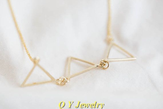 Новый Хиппи Шик Триада Треугольник BFF Ожерелье Ошейник Boho Длинные Тонкие Ожерелья Женская Мода Ожерелья Для Женщин 2016 Подарок
