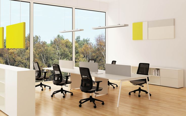 Lm Desk with Phonic acoustic wall panels, hanging panels and Lm screens