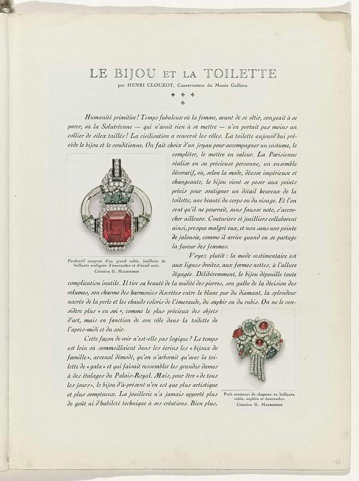Anonymous | Art - Goût - Beauté, Feuillets de l' élégance féminine, Noël 1928, No. 100, 9e Année, p. 43, Anonymous, G. Maubossin, Charles Goy, 1928 | Tekst met twee afbeeldingen van een hanger en een ornament voor een hoed, beide van G. Mauboussin. Pagina uit het modetijdschrift Art-Goût-Beauté (1920-1933).