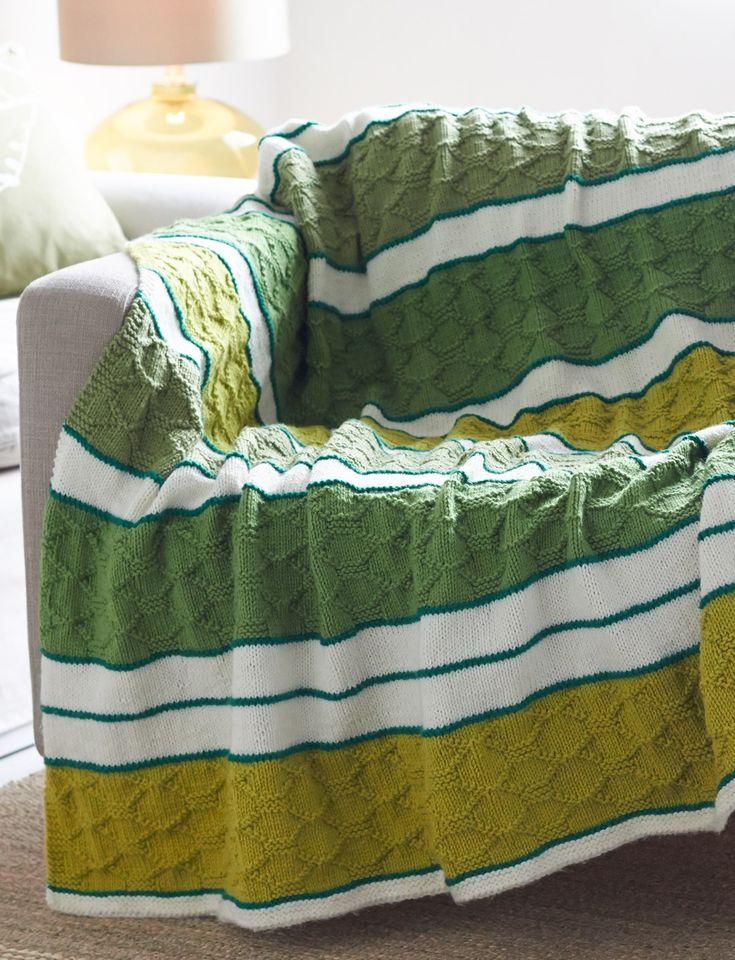 Knitted Quilt Block Patterns : Yarnspirations bernat block quilt striped afghan