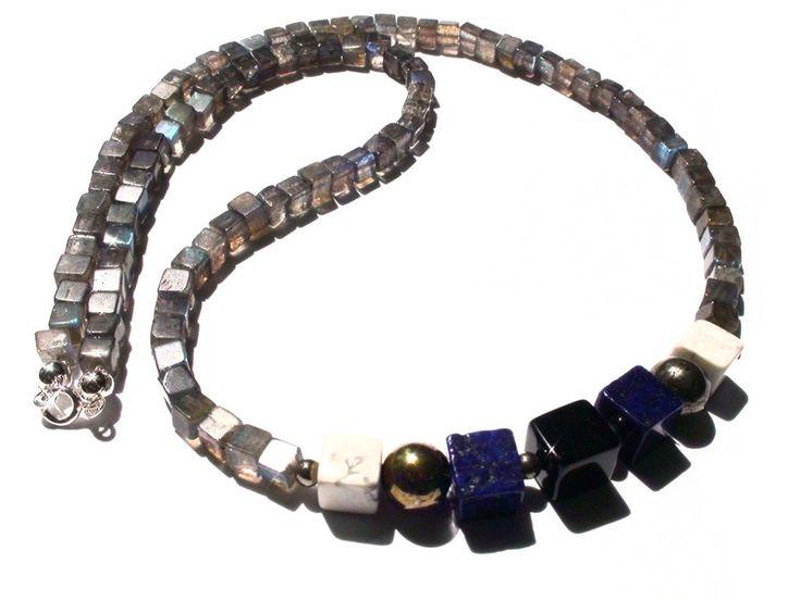Mens Necklaces – Mens Necklace - labradorite, pyrite, lapis lazuli – a unique product by OlgaJewelryBoutique on DaWanda
