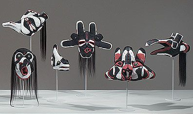 Brian Jungen's aboriginal masks made out of Air Jordans - at the US Native American Indian Museum in DC