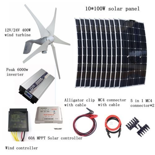 1400w Kit 400w Wind Turbine 10100w Solar Panel Controller 6000w Inverter Wind Turbine Solar Kit Solar Panels